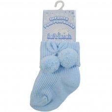 S10-B-1224: Blue Pom Pom Ankle Socks (12-24 Months)
