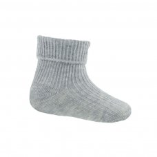 S103-G-NB: Plain Grey Turnover Socks (Newborn)