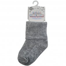 S104-G-03: Plain Grey Turnover Socks (0-3 Months)