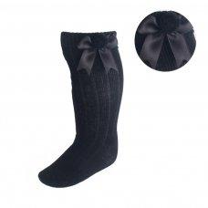 S107-BLK: Black Ribbed Knee-Length Pom-Pom Socks w/Satin Bow (NB-18 Months)