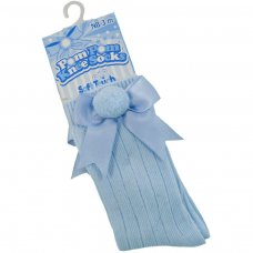S107-B: Blue Ribbed Knee-Length Pom-Pom Socks w/Satin Bow (NB-18 Months)