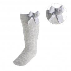 S107-G: Grey Ribbed Knee-Length Pom-Pom Socks w/Satin Bow (NB-18 Months)
