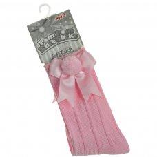S107-P: Pink Ribbed Knee-Length Pom-Pom Socks w/Satin Bow (NB-18 Months)