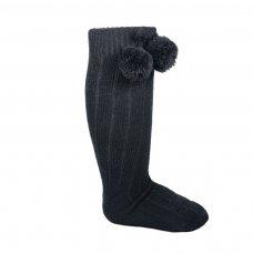 S108-BLK: Black Ribbed Knee-Length Pom Pom Socks (12-24 Months)