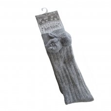 S108-G: Grey Ribbed Knee-Length Pom Pom Socks (12-24 Months)