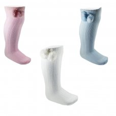 S108: Ribbed Knee Length Pom Pom Socks (12-24 Months)