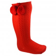 S108-R: Red Ribbed Knee-Length Pom Pom Socks (12-24 Months)