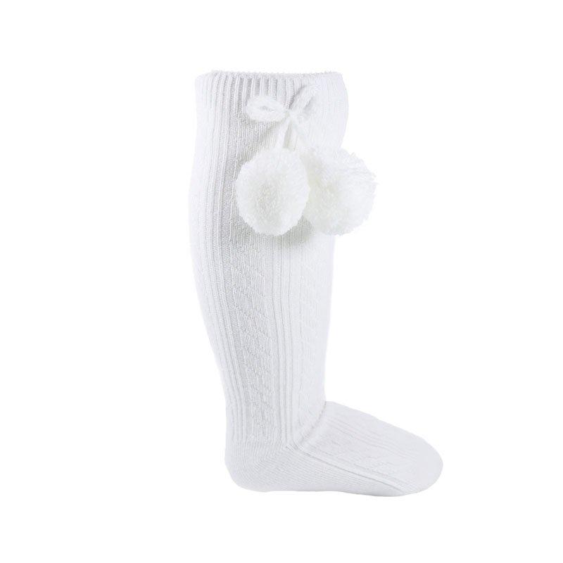 S108-W: White Ribbed Knee-Length Pom Pom Socks (12-24 Months)