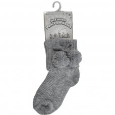 S113-G: Grey Pom Pom Ankle Socks (0-24 Months)