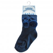 S118-N: Navy Pom Pom Ankle Socks (0-18 Months)