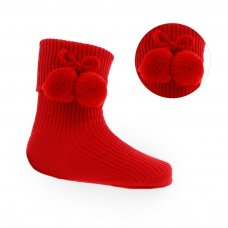 S119-R: Red Pom Pom Ankle Socks (0-18 Months)