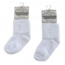 S12-W: Plain Cross Emb Socks (0-12 Months)