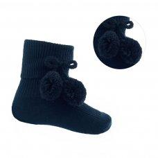 S120-BLK: Black Pom Pom Ankle Socks (0-18 Months)