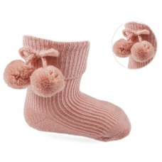 S121-RO: Rose Gold Pom Pom Ankle Socks (0-24 Months)