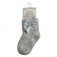S123-G: Grey Ankle Socks w/Large Bow (0-24 Months)