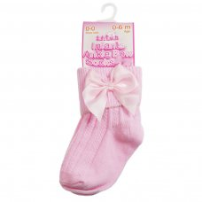 S123-P: Pink Ankle Socks w/Large Bow (0-24 Months)