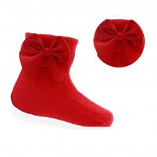 S123-R: Red Ankle Socks w/Large Bow (0-24 Months)