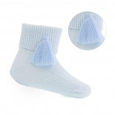 S125-B: Blue Ankle Socks w/Tassel (0-24 Months)