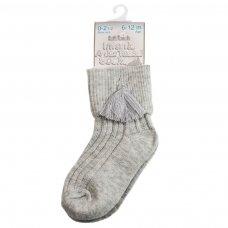 S125-G: Grey Ankle Socks w/Tassel (0-24 Months)