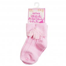 S125-P: Pink Ankle Socks w/Tassel (0-24 Months)