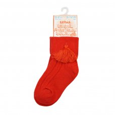 S125-R: Red Ankle Socks w/Tassel (0-24 Months)