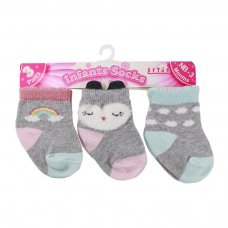 S166: Girls 3 Pack Socks (0-12 Months)