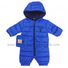 S18963: Baby Boys Royal Cotton Lined Quilted Snowsuit With Pack away Bag (0-12 Months)
