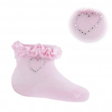 S245-P: Plain Pink Jacquard Socks (0-6 Months)