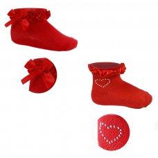S245-R: Plain Red Jacquard Socks (0-6 Months)