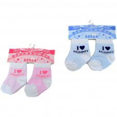 "S250-M: 2 Pack ""I love Mummy"" Socks (0-6 Months)"
