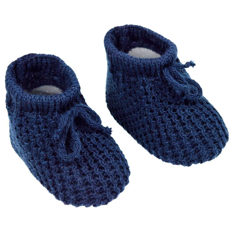 S401-N: Navy Acrylic Baby Bootees