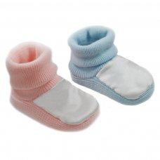 S404-PB: Acrylic Satin Turnover Baby Bootees