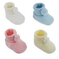S408: Acrylic Pom Pom Baby Bootees