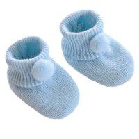 S408-B: Blue Acrylic Pom Pom Baby Bootees