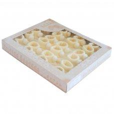 S408-C: Cream Acrylic Pom Pom Baby Bootees