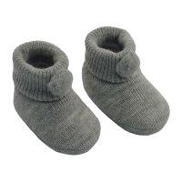 S408-G: Grey Acrylic Pom Pom Baby Bootees