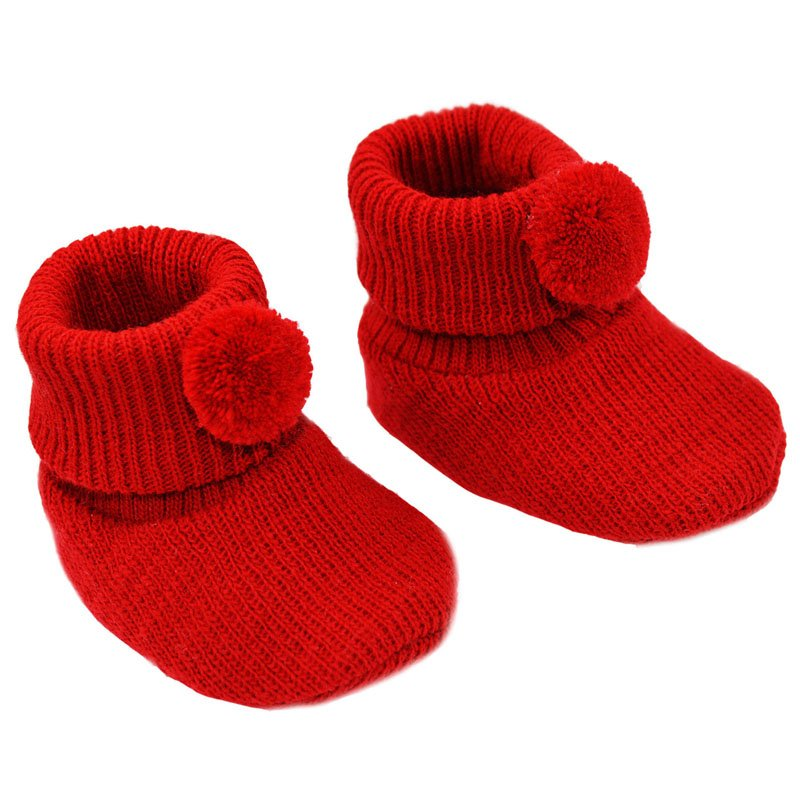 S408-R: Red Acrylic Pom Pom Baby Bootees