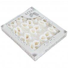 S408-W: White Acrylic Pom Pom Baby Bootees