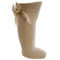 S41-BE: Beige Knee Length Socks w/Large Bow (0-24 Months)