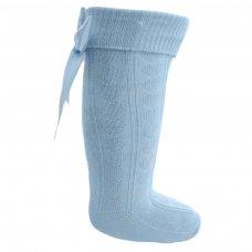 S41-B: Blue Knee Length Socks w/Large Bow (0-24 Months)