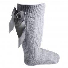 S41-G: Grey Knee Length Socks w/Large Bow (0-24 Months)
