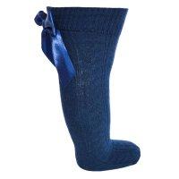 S41-N: Navy Knee Length Socks w/Large Bow (0-24 Months)