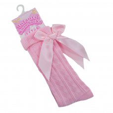S41-P: Pink Knee Length Socks w/Large Bow (0-24 Months)