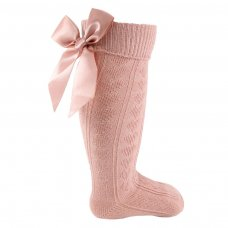 S41-RO: Rose Gold Knee Length Socks w/Large Bow (0-24 Months)