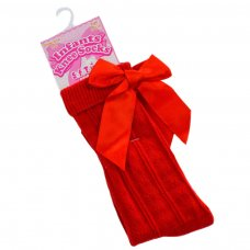 S41-R: Red Knee Length Socks w/Large Bow (0-24 Months)