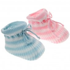 S411: Stripy Acrylic Baby Bootees