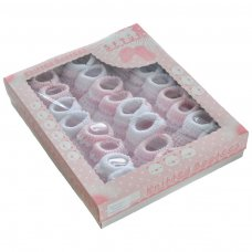 S419: Pink Turnover Cotton Baby Bootees