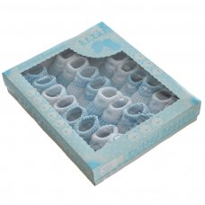 S420: Blue Turnover Cotton Baby Bootees