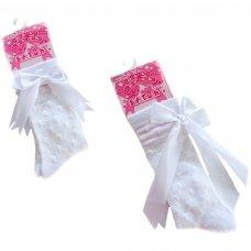 S43-W: White Shiny Knee-Length Socks (0-12 Months)