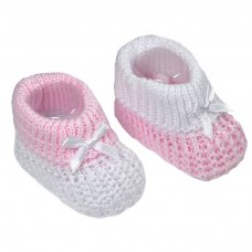 S431-P: Pink Cotton Turnover Baby Bootees
